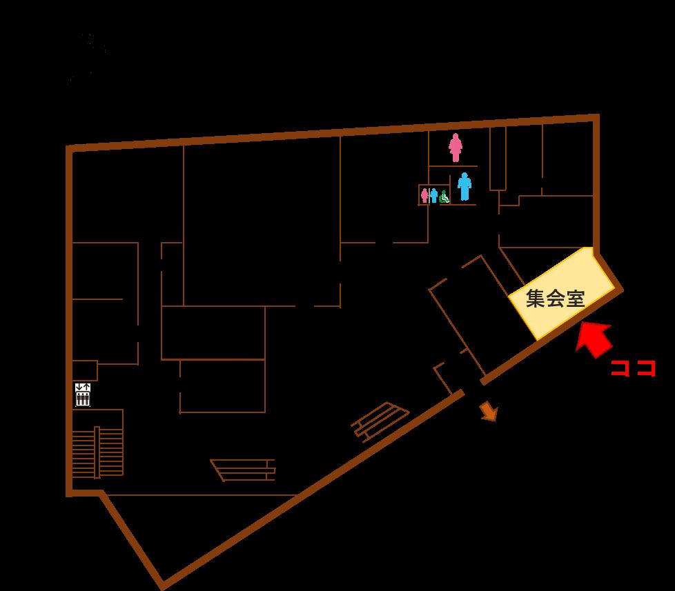 岡崎市シビックセンター2階 見取り図
