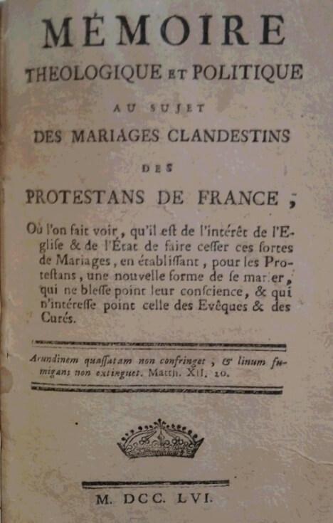 モンクラール『フランス・プロテスタントの秘密婚問題における神学的・政治的意見書』第2版(1756年)表紙